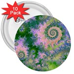 Rose Apple Green Dreams, Abstract Water Garden 3  Button (10 pack)