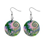 Rose Apple Green Dreams, Abstract Water Garden Mini Button Earrings