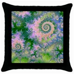 Rose Apple Green Dreams, Abstract Water Garden Black Throw Pillow Case