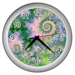 Rose Apple Green Dreams, Abstract Water Garden Wall Clock (Silver)