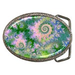 Rose Apple Green Dreams, Abstract Water Garden Belt Buckle (Oval)