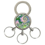Rose Apple Green Dreams, Abstract Water Garden 3-Ring Key Chain