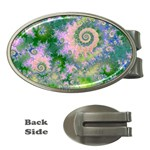 Rose Apple Green Dreams, Abstract Water Garden Money Clip (Oval)
