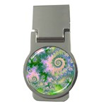 Rose Apple Green Dreams, Abstract Water Garden Money Clip (Round)