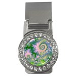 Rose Apple Green Dreams, Abstract Water Garden Money Clip (CZ)