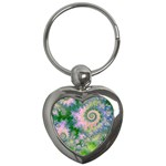 Rose Apple Green Dreams, Abstract Water Garden Key Chain (Heart)