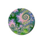 Rose Apple Green Dreams, Abstract Water Garden Drink Coasters 4 Pack (Round)