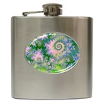 Rose Apple Green Dreams, Abstract Water Garden Hip Flask