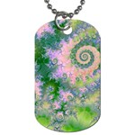 Rose Apple Green Dreams, Abstract Water Garden Dog Tag (Two-sided)