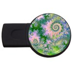Rose Apple Green Dreams, Abstract Water Garden 2GB USB Flash Drive (Round)