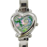 Rose Apple Green Dreams, Abstract Water Garden Heart Italian Charm Watch