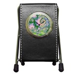 Rose Apple Green Dreams, Abstract Water Garden Stationery Holder Clock