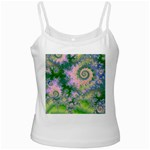 Rose Apple Green Dreams, Abstract Water Garden White Spaghetti Top