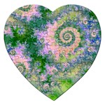 Rose Apple Green Dreams, Abstract Water Garden Jigsaw Puzzle (Heart)