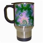 Rose Apple Green Dreams, Abstract Water Garden Travel Mug (White)