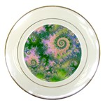 Rose Apple Green Dreams, Abstract Water Garden Porcelain Display Plate