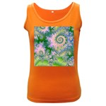Rose Apple Green Dreams, Abstract Water Garden Women s Tank Top (Dark Colored)