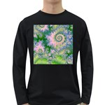 Rose Apple Green Dreams, Abstract Water Garden Men s Long Sleeve T-shirt (Dark Colored)