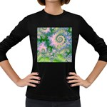 Rose Apple Green Dreams, Abstract Water Garden Women s Long Sleeve T-shirt (Dark Colored)