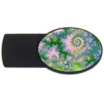 Rose Apple Green Dreams, Abstract Water Garden 4GB USB Flash Drive (Oval)