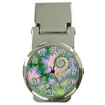 Rose Apple Green Dreams, Abstract Water Garden Money Clip with Watch