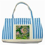 Rose Apple Green Dreams, Abstract Water Garden Blue Striped Tote Bag
