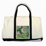 Rose Apple Green Dreams, Abstract Water Garden Two Toned Tote Bag