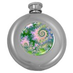 Rose Apple Green Dreams, Abstract Water Garden Hip Flask (Round)