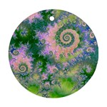 Rose Apple Green Dreams, Abstract Water Garden Round Ornament (Two Sides)