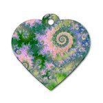 Rose Apple Green Dreams, Abstract Water Garden Dog Tag Heart (Two Sided)