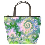 Rose Apple Green Dreams, Abstract Water Garden Bucket Handbag