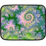 Rose Apple Green Dreams, Abstract Water Garden Mini Fleece Blanket (Two Sided)