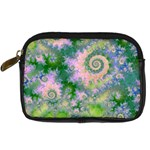 Rose Apple Green Dreams, Abstract Water Garden Digital Camera Leather Case