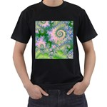 Rose Apple Green Dreams, Abstract Water Garden Men s T-shirt (Black)