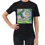 Rose Apple Green Dreams, Abstract Water Garden Women s T-shirt (Black)
