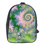 Rose Apple Green Dreams, Abstract Water Garden School Bag (Large)