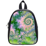 Rose Apple Green Dreams, Abstract Water Garden School Bag (Small)