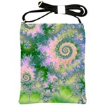 Rose Apple Green Dreams, Abstract Water Garden Shoulder Sling Bag