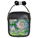 Rose Apple Green Dreams, Abstract Water Garden Girl s Sling Bag