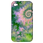 Rose Apple Green Dreams, Abstract Water Garden Apple iPhone 4/4S Hardshell Case (PC+Silicone)