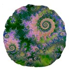 Rose Apple Green Dreams, Abstract Water Garden 18  Premium Round Cushion