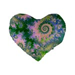 Rose Apple Green Dreams, Abstract Water Garden 16  Premium Heart Shape Cushion