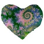 Rose Apple Green Dreams, Abstract Water Garden 19  Premium Heart Shape Cushion