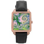 Rose Apple Green Dreams, Abstract Water Garden Rose Gold Leather Watch