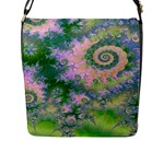 Rose Apple Green Dreams, Abstract Water Garden Flap Closure Messenger Bag (Large)