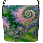 Rose Apple Green Dreams, Abstract Water Garden Flap Closure Messenger Bag (Small)
