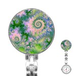 Rose Apple Green Dreams, Abstract Water Garden Stainless Steel Nurses Watch