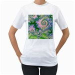 Rose Apple Green Dreams, Abstract Water Garden Women s T-Shirt (White)