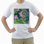 Rose Apple Green Dreams, Abstract Water Garden Men s T-Shirt (White)