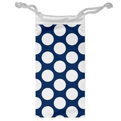 Dark Blue Polkadot Jewelry Bag by Zandiepants